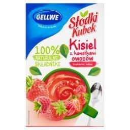 Słodki Kubek Kisiel z kawałkami owoców truskawka mal...