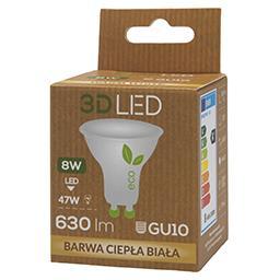 Halogen ledowy 3D LED GU10 8W barwa ciepła