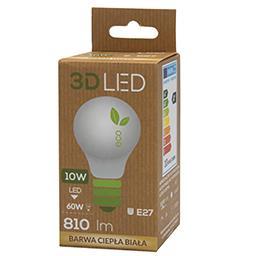Żarówka ledowa 3D LED tradycyjna E-27 10W barwa ciep...