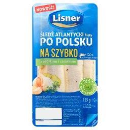 Śledź atlantycki filety po polsku na szybko z ogórkiem i czosnkiem