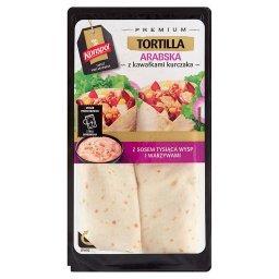 Premium Tortilla arabska z kawałkami kurczaka z sosem tysiąca wysp i warzywami