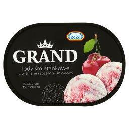Grand Lody śmietankowe z wiśniami i sosem wiśniowym
