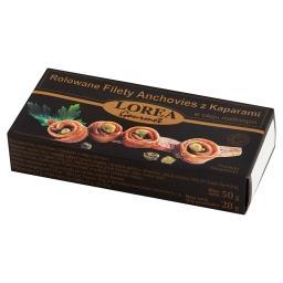 Rolowane Filety Anchovies z kaparami w oleju roślinnym