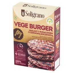 Vege burger jaglany z buraczkiem i czerwoną soczewic...