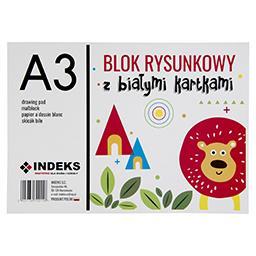 Blok rysunkowy A3, 20 kartek, białe kartki
