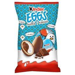 Eggs Chrupiący wafelek pokryty mleczną czekoladą z mlecznym i kakaowym nadzieniem