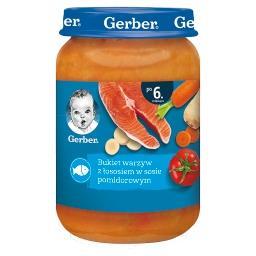 Bukiet warzyw z łososiem w sosie pomidorowym dla nie...