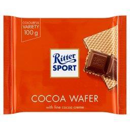 Wafel przekładany kremem kakaowym i krem kakaowy z p...