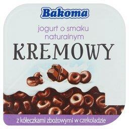 Kremowy jogurt o smaku naturalnym z kółeczkami zbożowymi w czekoladzie