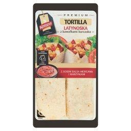 Premium Tortilla latynoska z kawałkami kurczaka z sosem salsa mexicana i warzywami