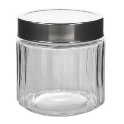 Słoik szklany prążkowany z przezroczystą pokrywką 0,...