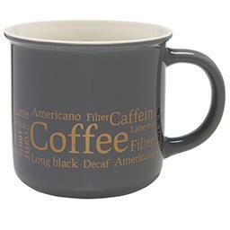 Kubek porcelanowy szary 300 ml, dekoracja Coffee