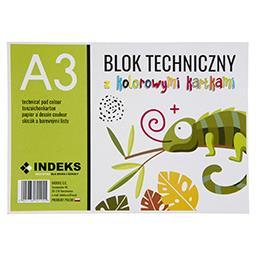 Blok techniczny A3, 8 kartek, kolorowy