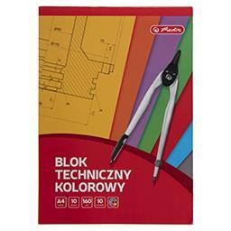 Blok techniczny kolorowy A4, 10 kartek