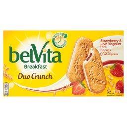Breakfast Duo Crunch Strawberry & Live Yogurt Ciastka zbożowe 253 g (5 x 2 sztuki)