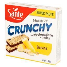 Crunchy Baton zbożowy musli z dodatkiem bananów podlany czekoladą 150 g (6 sztuk)