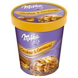 Lody czekoladowe i lody o smaku waniliowym z sosem karmelowym