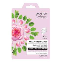 Maska na tkaninie róża + fitokolagen poprawa napięcia+regeneracja 23 ml