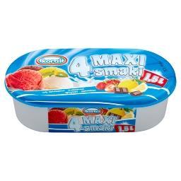 4 Maxi smaki Lody śmietankowo-truskawkowo-cytrynowo-czekoladowe 1,5 l