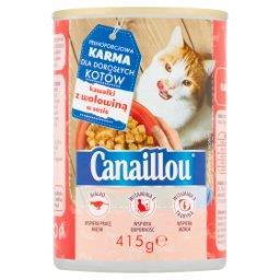 Pełnoporcjowa karma dla dorosłych kotów kawałki z wołowiną w sosie