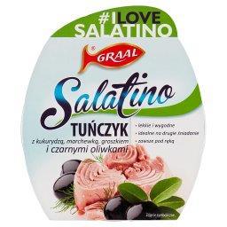 Salatino Tuńczyk z kukurydzą marchewką groszkiem i czarnymi oliwkami