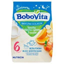 Smaczna Kolacja Kaszka mleczno-ryżowa 3 owoce po 6 m...