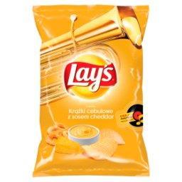 Chipsy ziemniaczane karbowane o smaku krążków cebulowych z sosem cheddar