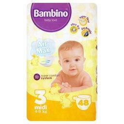 Jednorazowe pieluszki dla dzieci 3 midi 4-9 kg 48 sztuk
