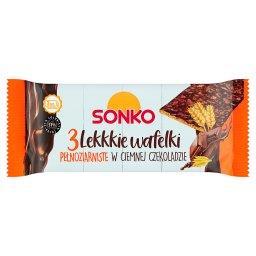Lekkkie wafelki pełnoziarniste w ciemnej czekoladzie  (3 sztuki)