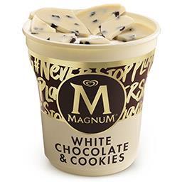 Gelado magnum de chocolate branco e cookies