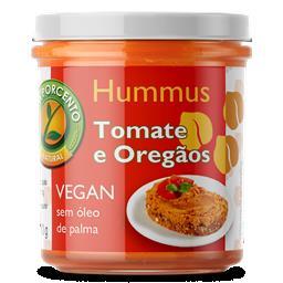 Hummus tomate e orégãos vegan