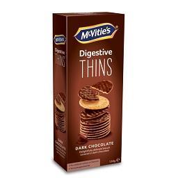 Mcvitie's digestive thins dark choc 150g