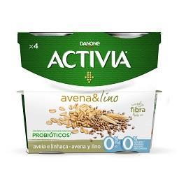 Iogurte Activia 0% aveia e linhaça