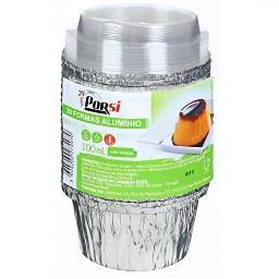 Formas de alumínio redondas com tampa 100 ml