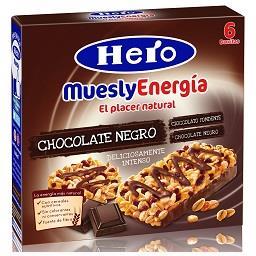 Barras de cereais muesly chocolate negro