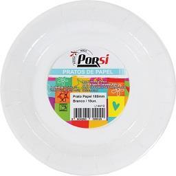 Pratos de papel brancos 18 cm