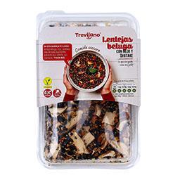 Lentilhas beluga com painço e shiitake