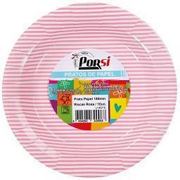 Pratos de papel riscas rosas 18 cm
