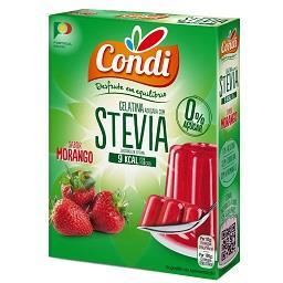 Gelatina com stevia, morango