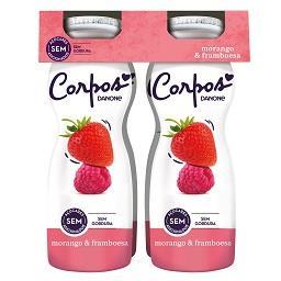 Iogurte líquido morango / framboesa corpos danone