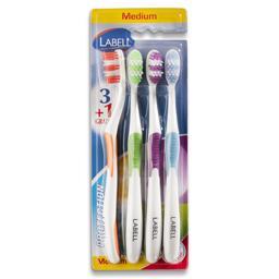 Escova dentes, proteção média, com 3+1 unidades