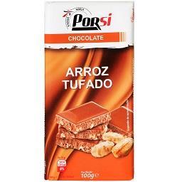 Tablete de chocolate com arroz tufado