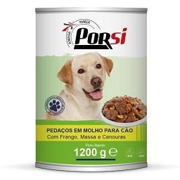 Comida húmida p/ cão frango, massa e cenoura