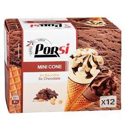Gelados mini cones baunilha e chocolate