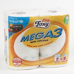 Rolo de Cozinha Mega 3 Branco 2=6 Rolos