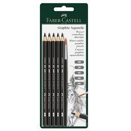 5 Lápis Grafite Aquarelável + Pincel