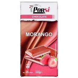 Tablete chocolate com recheio de morango
