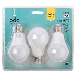 Pack de 3 lâmpadas 7W LED E27