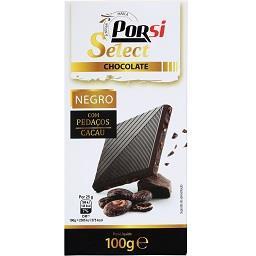 Tablete de chocolate negro com pedaços