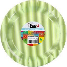 Pratos de papel riscas verdes 23 cm